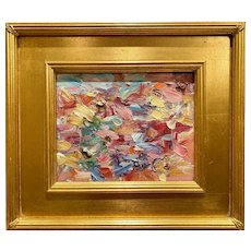 """Abstract Chunky Impasto Palette"", Original Oil Painting by artist Sarah Kadlic, 15""x13"" Gilt Leaf Plein Air Wood Frame"