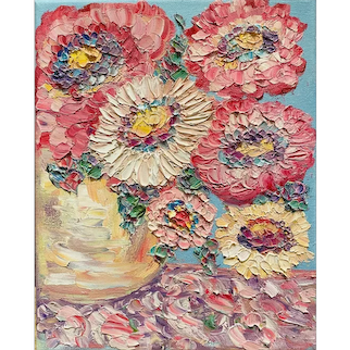 """""""Abstract Expressionist Impasto Flowers"""", Original Oil Painting by artist Sarah Kadlic, 8""""x10"""" Stretched Canvas"""