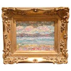 """Abstract Beach Seascape Impasto"", Original Oil Painting by artist Sarah Kadlic, 8x10"" Gilt Frame"