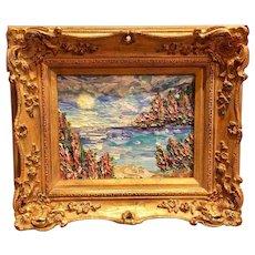 """Abstract Impasto Beach Reflections"", Original Oil Painting by artist Sarah Kadlic, 8x10"" Gold Gilt Leaf Frame"