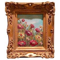 """Flower Garden Impressions"", Original Oil Painting by artist Sarah Kadlic, 8x10"" with Gilt Leaf Wood Frame"
