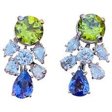 Estate 18k Gold 9.00ct G VS Diamond Peridot Tanzanite Dangle Drop Pendant Earrings