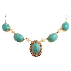 Vintage Art Deco 1940s Estate Turquoise Cabachon & Pearl Pendant Necklace -9kt Gold