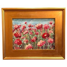 """""""French Wild Flowers Abstract"""", Original Oil Painting by artist Sarah Kadlic, 8x10"""" with Gilt Leaf Frame"""