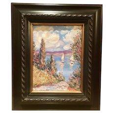 """French Wild Flowers Seascape Abstract"", Original Oil Painting by artist Sarah Kadlic, 9x12"" Dark Wood Frame"