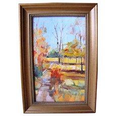 Chic Vintage Retro Mid Century Abstract Original Oil Painting on Panel Impasto Autumnal Fall Landscape, 11x7