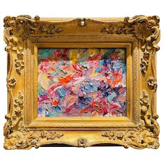 """Abstract Impasto Colors Study"", Original Oil Painting by artist Sarah Kadlic, Gilt Leaf Carved Ornate Frame"