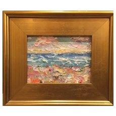 """Abstract Seascape "", Original Oil Painting by artist Sarah Kadlic, 9x12"" Gilt Leaf Frame"
