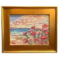 """Abstract Summer Impasto"", Original Oil Painting by artist Sarah Kadlic, 15""x17"" Gilt Leaf Wood Frame"