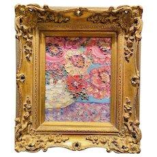 """Abstract Impasto Floral Impression"", Original Oil Painting by artist Sarah Kadlic, 13""x15"" Gilt Leaf Wood Frame"