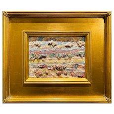"""Abstract Impasto Tuscany Landscape "", Original Oil Painting by artist Sarah Kadlic, Gilt Leaf Wood Frame 10x11"""