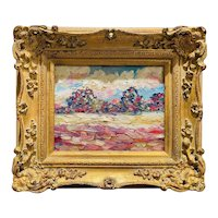 """Abstract Expressionist Impasto Landscape "", Original Oil Painting by artist Sarah Kadlic, 13""x15"" Gilt Frame"