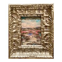 """Abstract Vertical Landscape"", Original Oil Painting by artist Sarah Kadlic, 10"" Gilt Silver Leaf Frame"