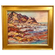 """Abstract California Mountain Seascape"", Original Oil Painting by artist Sarah Kadlic, 20""x24"" Gilt Leaf Framed"