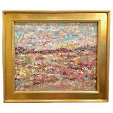 """Abstract Expressionist Impasto Landscape"", Original Oil Painting by artist Sarah Kadlic, 24x20"" Gilt Leaf Wood Frame"