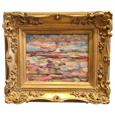 """Abstract Tuscany Italy Landscape"", Original Oil Painting by artist Sarah Kadlic, Gilt Leaf Carved French Frame 8x10"""