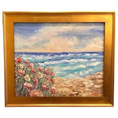 """Abstract Impressionism Calm Seascape"", Original Oil Painting by artist Sarah Kadlic, 24x20"" Gilt Leaf Wood Frame"