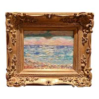 """Abstract Beach Seascape "", Original Oil Painting by artist Sarah Kadlic, 10x8"" + French Gilt Wood Frame"
