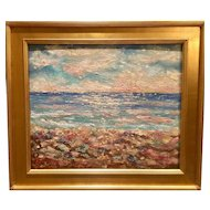 """Impressionist Impasto Seascape Sunset"", Original Oil Painting by artist Sarah Kadlic, 24x20"" with Gilt Leaf Wood Frame"