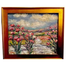 """Tuscany Italy Poppies Impressionist Impasto Landscape"", Original Oil Painting by artist Sarah Kadlic, 24x20"" Gilt Frame"