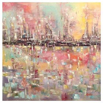 """Abstract Cityscape Pinks, Pale Blue, Yellow, Gray Impasto"", Original Oil Painting by artist Sarah Kadlic"