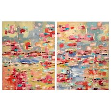 """Abstract Pinks Blues Impasto Diptych color Study II"", Original Oil Painting by artist Sarah Kadlic, 36""x24"""