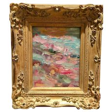 """Abstract Impasto Landscape"", Original Oil Painting by artist Sarah Kadlic, Gilt Framed 8x10"""
