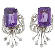 Stunning Estate 1940s- 1950s Retro Deco 18k Gold Amethyst Diamond Double Clips Set