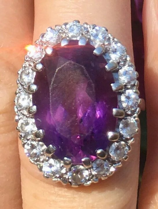 0eac6d00a6511 Vintage Estate 1950s 10 Carat Amethyst and 1.00 cttw VS Diamond Cocktail  Ring