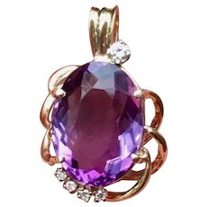 "Beautiful Estate Vintage 14k Gold Large 1.25"" Amethyst Diamond Pendant for Necklace"