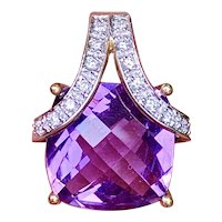 Vintage Estate 14K 6.16ct Diamond Amethyst Gemstone Necklace Pendant