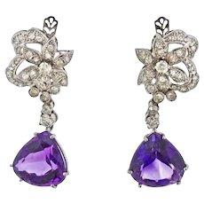 Large Vintage Estate 18k Gold Amethyst Old European Diamond Dangle Earrings