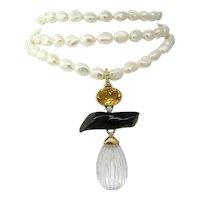 1980s Estate Signed Rare Andrew Clunn Designer Triple Strand Cultured Pearl Necklace  Set w/ Diamonds, Citrine, Black Coral, Crystal