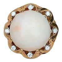 Estate Vintage 1950s Heavy 14k Gold Diamond Pale Pink Angel Skin Coral Cabachon Cocktail Ring
