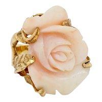 Impressive Vintage Estate 14k Yellow Gold Angel Skin Coral Diamond Ring