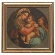 "A stunning 19th century antique original oil study done after Raphael's ""Madonna Della Sedia""."
