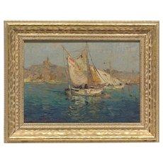 """Antique Seascape Original Oil Painting Jacques Van Den Bussche (Netherlands, b. 1925) 12x15"""""""