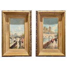 Vintage Midcentury Antonio DeVity Paris Street Scene Original Oil Paintings Pair
