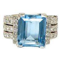 Stunning Vintage Estate 1950s 18k Gold 7.02ct Aquamarine F VS Diamond Cocktail Ring