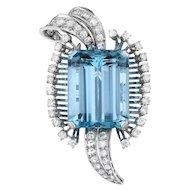 Stunning Retro 1950s 23ct Aquamarine 1.55 G-H/VS Diamond Platinum Brooch /Pin/ Pendant