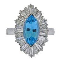 Stunning Deco Vintage 1940s-50s Platinum Marquise Aquamarine Diamond Baguette Cocktail Ring