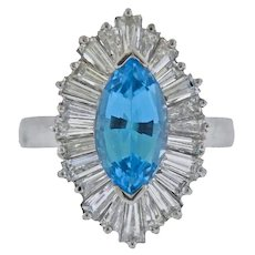 Stunning Deco Vintage 1940s-50s Platinum Marquise Aquamarine Diamond Baguette Cocktail Ring
