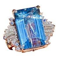 Heavy Vintage 1940s 1950s Platinum 15ct VS diamond Santa Maria Blue Aquamarine Cocktail Ring