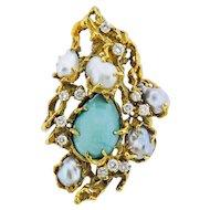 Rare Arthur King 1970s Diamond Pearl Turquoise 18k Gold Free Form Brooch