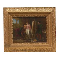 Stunning Antique Original Oil Painting, Lady Artist in Studio, Victorian Period Frame, Continental School, 19th Century