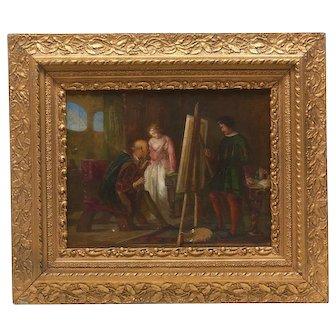 Stunning Antique Original Oil Painting, Lady Artist in Studio, Victorian Period Frame, Continental School, 19th Century