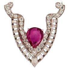 Stunning Art Deco Vintage Pink Sapphire Diamond Platinum Brooch
