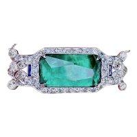 "Stunning Authentic 1920's Antique Art Deco Platinum 17.00ctw Diamond & Green Tourmaline 15"" Necklace"