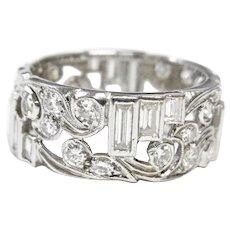 Vintage Estate Art Nouveau 2.25ct Baguette Diamond Platinum Ring Band