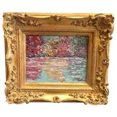"""""""Summer to Fall Autumn Trees Landscape"""", Original Oil Painting by artist Sarah Kadlic, 8x10"""" Gilt Leaf French Frame"""